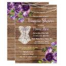 Corset Lingerie Shower Wood Flowers Invite Purple
