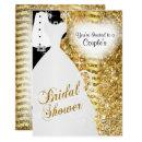 Couple's Bridal Shower in an Elegant Gold Glitter Card