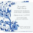 Couples Shower Blue Asian China Floral Watercolor