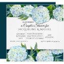 Couples Shower Peacock Blue White Hydrangea Floral