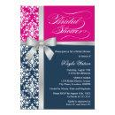 Damask Faux Silver Ribbon Navy Pink Bridal Shower Invitations