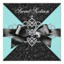 Diamonds Teal Blue Black Sweet 16 Birthday Party