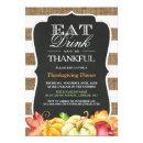 Eat Drink and Be Thankful   Rustic Thanksgiving Invitation