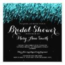Elegant Bridal Shower Falling Stars Turquoise Invitations