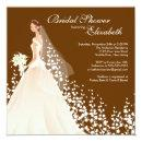 Elegant Bride Bridal Shower Invitations Brown White