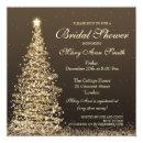 Elegant Christmas Bridal Shower Gold Invitations