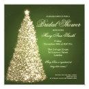 Elegant Christmas Bridal Shower Gold Green Invitations