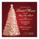 Elegant Christmas Bridal Shower Gold Red Invitations