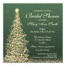 Elegant Christmas Bridal Shower Green Gold Invitations