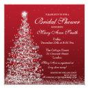 Elegant Christmas Bridal Shower Red Silver Invitations