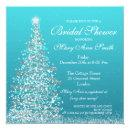 Elegant Christmas Bridal Shower Turquoise Invitations