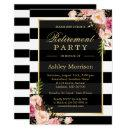 Elegant Floral Gold Black Stripes Retirement Party Invitation