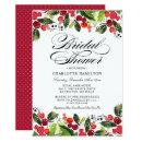 Elegant Red Green Watercolor Holiday Bridal Shower