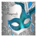 Elegant Silver Teal Blue Masquerade Party Custom Invites