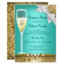 Elegant Teal Gold White Champagne Brunch Invite