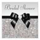 Faux Silver Sequins Chic Black Bow Bridal Shower