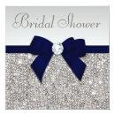 Faux Silver Sequins Navy Blue Bow