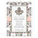 Fleur de Lis Bridal Shower Invitations Pink Brown