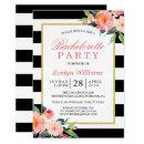 Floral Black White Stripes Gold Bachelorette Party