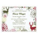 Floral Reindeer Christmas Bridal Shower Invitations