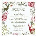 Floral Reindeer Christmas Wedding Invitations