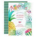 Fruity Tropical Birthday Party Invites Flamingo