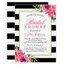 Fuchsia Purple Red Floral Stripes Bridal Shower