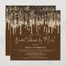 Glam Glitter Drip Gold Brown Bridal Shower by Mail