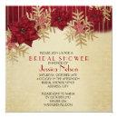 Gold Christmas Holiday Red Stars Bridal Shower