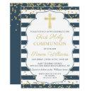 Gold Glitter Navy Blue First Holy Communion Invitation