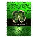 GREEN DAMASK,GOLD SHAMROCK JEWEL WITH WHITE PEARLS