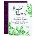 Green Foliage and Plum   Calligraphy Bridal Shower