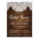 Lace and wood Rustic Bridal Shower Invitations II