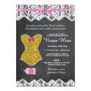 Lingerie Shower Bridal Party Gold Pink Lace Invite