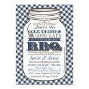 Mason Jar BBQ Invitation, Couples Shower Navy Blue