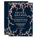 Modern fall rose gold branch navy bridal shower Invitations