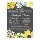 Modern Typography Floral Bridal Shower Gray Yellow Invitations