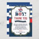 Nautical Ahoy Red Navy Baby Shower Thank You