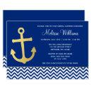 Nautical Anchor Chevron Blue Gold Bridal Shower