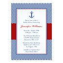 Nautical Chevron Anchor Blue Red Bridal Shower Invitations