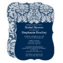 Navy and White Lace Damask Pattern Bridal Shower