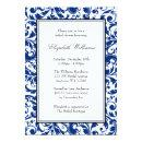 Navy Blue and Black Swirl Damask Bridal Shower Invitations