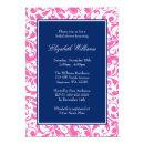 Navy Blue and Pink Swirls Damask Bridal Shower