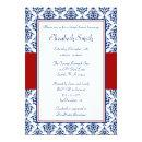 Navy Blue and Red Damask Bridal Shower