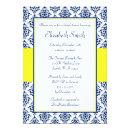 Navy Blue and Yellow Damask Bridal Shower Invitations
