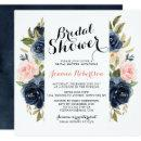 Navy Blue Blush Watercolor Floral Bridal Shower