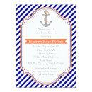 Navy blue, coral nautical wedding bridal shower Invitations