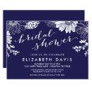 Navy Blue Modern Floral Bridal Shower