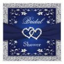 Navy Blue, Silver Floral, Hearts Bridal Shower