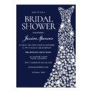 Navy Blue White Wedding Dress Bridal Shower Invite